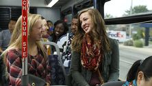 Students riding The Rapid, Grand Rapids' public bus system.