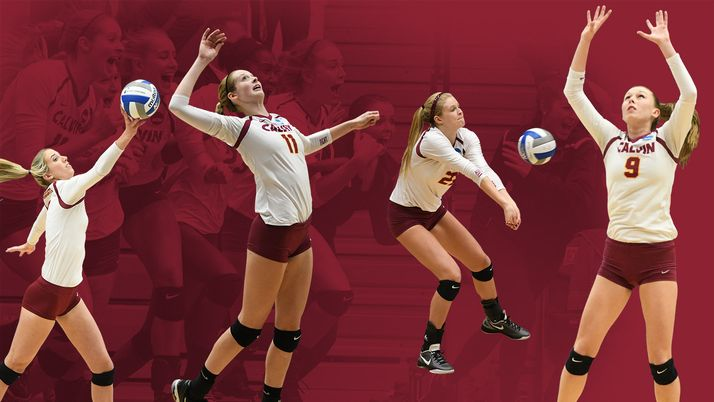 Graphic featuring four women's volleyball players hitting volleyballs.