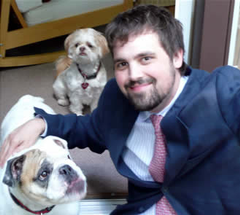 Matt Halteman with Gus and Charlie