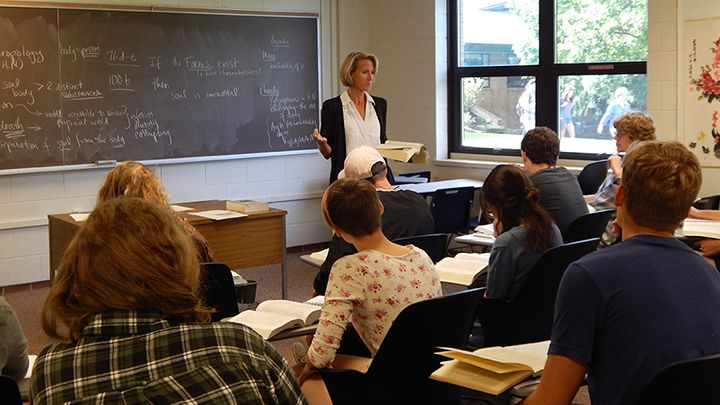 Professor Rebecca Konyndyk DeYoung in the classroom