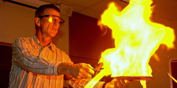 He's a teacher, scholar, mentor and biochem pioneer who traffics in flaming soap bubbles.