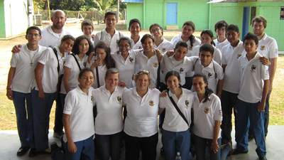 Ana Barahona with classmates and teachers from International School of Tegucigalpa.