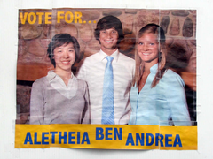 Campaign poster for the winning team
