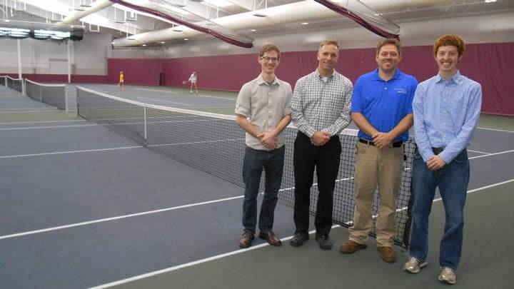 From left to right: John Sherwood (CERF intern), Professor Matt Heun (engineering department), Jack Phillips (physical plant) and Lucas Timmer (CERF intern)