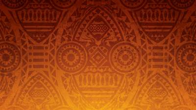 African patterns overlaid on a dark orange gradient.