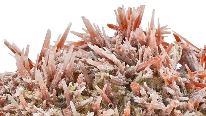 Color photo of colorful, crystalline mineral samples