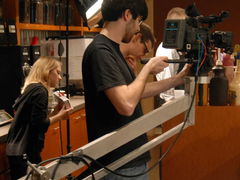 Media production students film a local commercial.