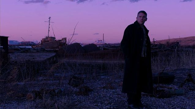 Movie promotion image with Ethan Hawke looking about with a sunset in the background