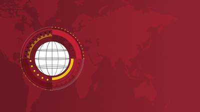 Graphic rendering of stylized globe over red and maroon shades of a world map
