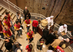 Students and alumni enjoy refreshments in the lobby