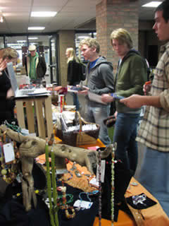 Students at the fair trade fair