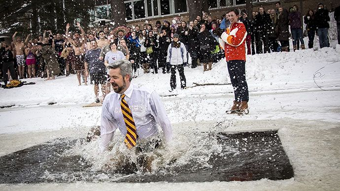 President Le Roy takes the Cold Knight Plunge with fellow students.