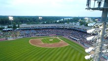 An aerial view of a minor league ballpark in Grand Rapids, Michigan