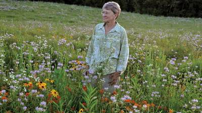 Carol Vanden Bosch Rottman '60 walking through a field of flowers.