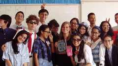 Brittany with her class of students