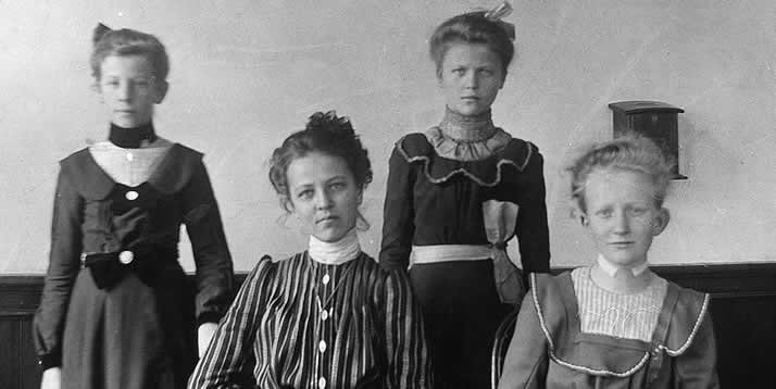 Some of Calvin's first female students (left to right): Anna Steenstra, Kate Fryling, Anna Groendyk and Helen Poelstra.