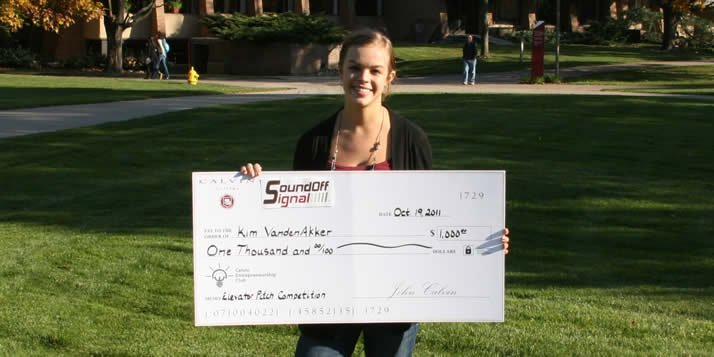 Kim VandenAkker, the winner of this year's Elevator Pitch, recently won the regional Idea Pitch.