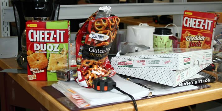 Senior engineers are doing a lot of fine-tuning (and snacking) as they get ready for their annual design showcase.