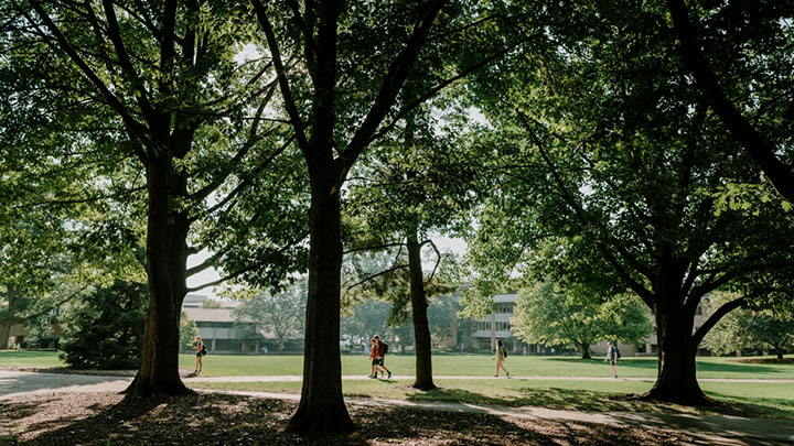 Students walking across Calvin's tree-filled campus.