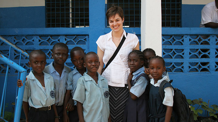 Education student abroad with her students