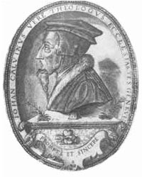 The first rendition with only the motto prompte et sincere appeared in 1566 on this portrait made two years after Calvin's death.