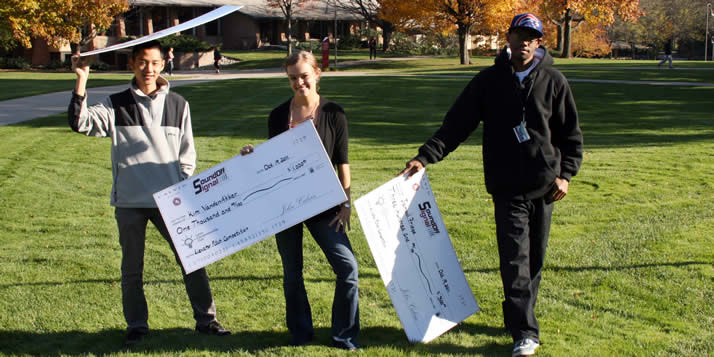 Three students captured top honors in the 2011 edition of Calvin's entrepreneurial contest Elevator Pitch.