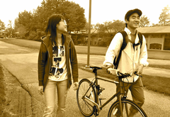 Two students and a bike