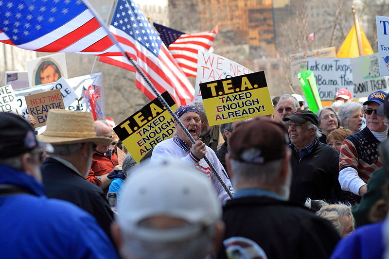 Members of the newly-formed Tea Party protest tax increase.