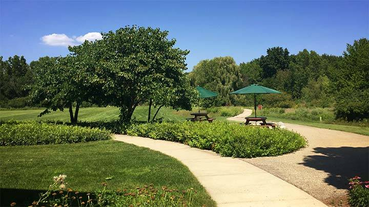 The Prince Conference Center's outdoor patio overlooking the nature preserve.