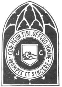 "Seal from 1910 yearbook of ""De Theologische School en Calvin College"" . Note that the logo resembles a window."